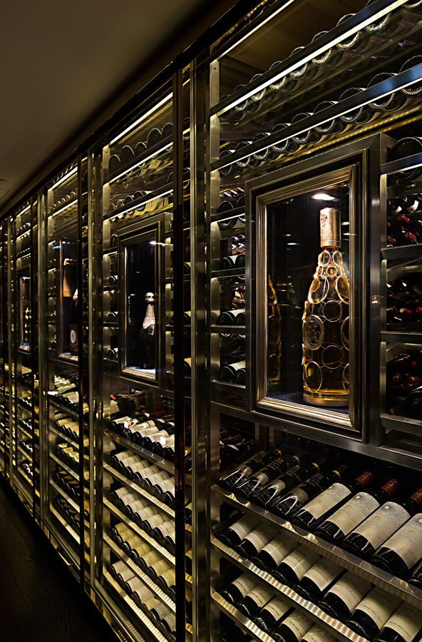 Wine Wall with built in LED lighting & Smoked Glass