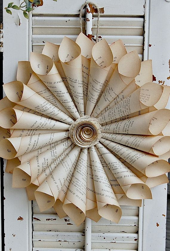 Book Page Wreath French Farmhouse  Paper Rose New by roseflower48, $27.00 Would make unusual Beautiful wedding flowers