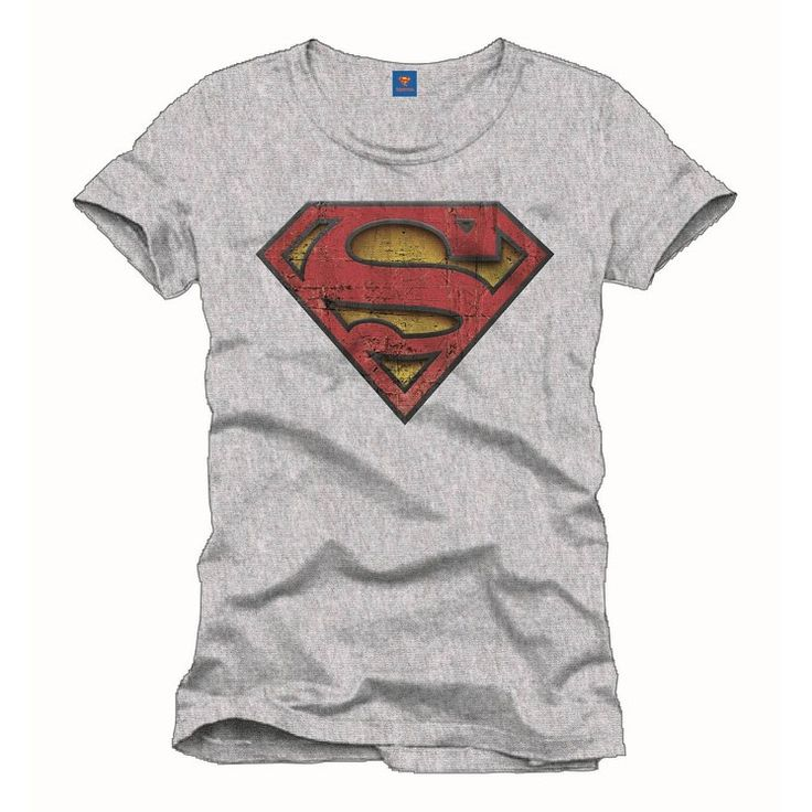 Tee-Shirt Gris Logo Rouge Effet Usé Superman
