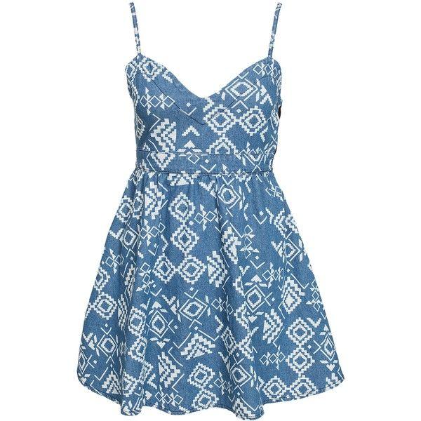 Nly Trend The Etno Denim Dress ($41) ❤ liked on Polyvore featuring dresses, vestido, denim blue, party dresses, womens-fashion, blue embellished dress, skater dress, tall dresses, embellished dress and slimming dresses