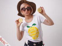 "Print-T-Shirt "" Lemon "" Flock, Weiß"