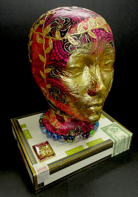 Turn an styrofoam head in to an altered art piece.