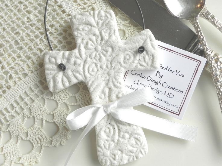 Imprinted Salt Dough Cross Ornament Wedding or Baptism Favor