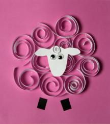Rolled paper sheep craft
