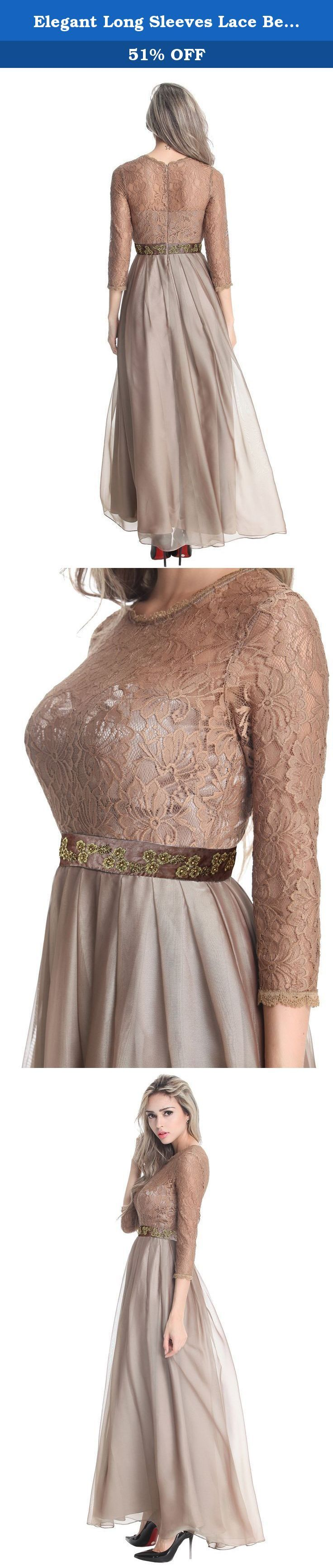 Elegant Long Sleeves Lace Beaded Women Chiffon Dress 6 Brown. Top Coffee Lace with soft Chiffon fabric, 3/4 sleeves ,baeded embroidery sequin flower desgin, fit wedding bridal, formal prom , 3 colours for choose, grey, Coffee, Dark Blue.
