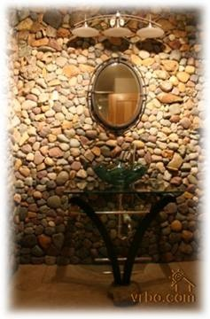 i love this river rock bathroom though iu0027d do one of those sinks that