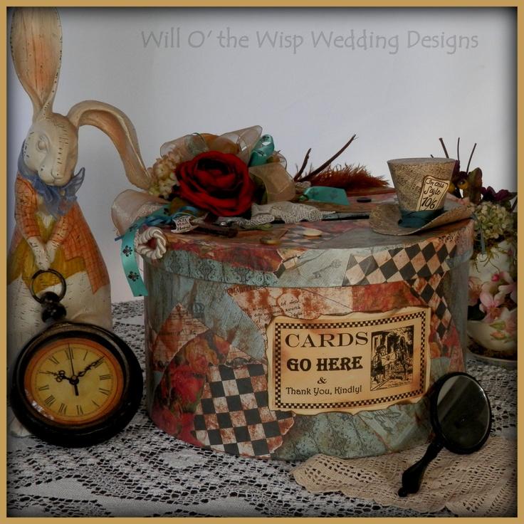MAD HATTER WEDDING card hat box Alice in Wonderland theme decor.