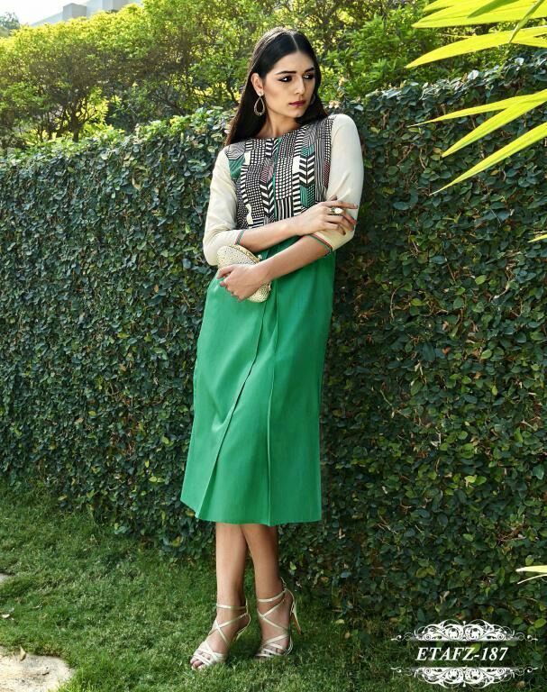 Green Colour Cotton Stitched Kurti