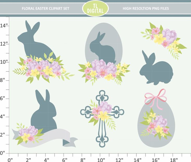 Floral Easter Clipart Set  - High resolution PNG Files - 7 clipart designs by TLDigital on Etsy