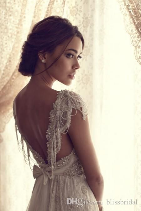 Backless Wedding Dresses Simple Beach V Neck Cap Sleeves Open Back Long Length Beading Crystal Lace Bow Tulle Wedding Dress Custom Made