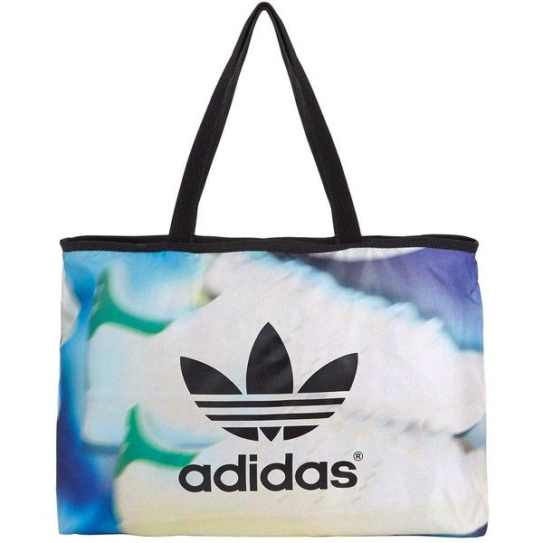 Adidas Originals Shoe Chaos Printed Shopper (£30) ❤ liked on Polyvore featuring bags, handbags, tote bags, shopper handbags, white shopping bags, sport tote, print tote and shopper tote handbags