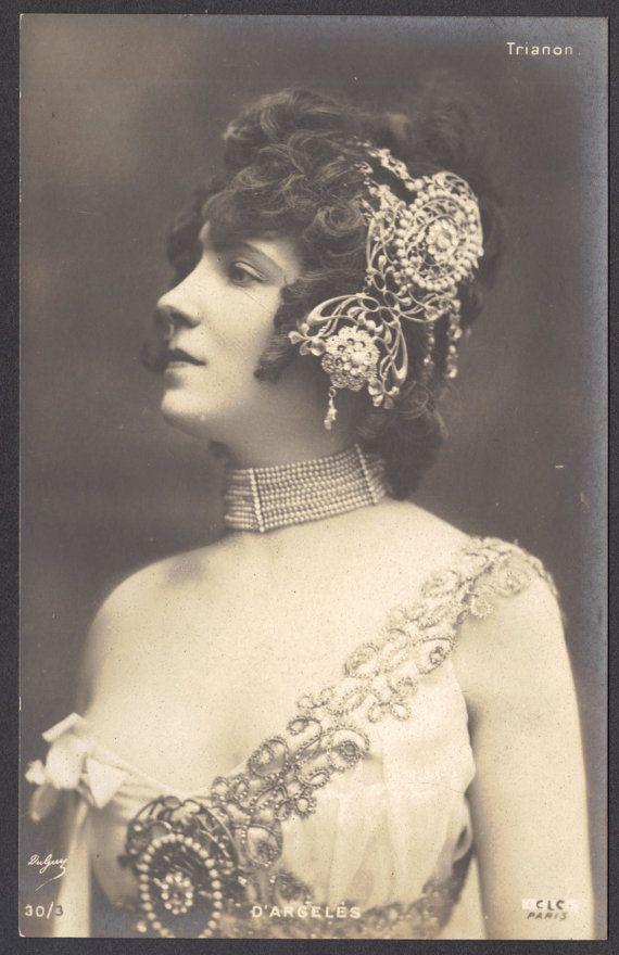 Belle Epoque Artiste D'Argeles in Art Nouveau Diademe, postcard
