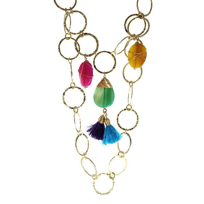 Collar y Aretes en Cadena Circular y Piedras Multicolor