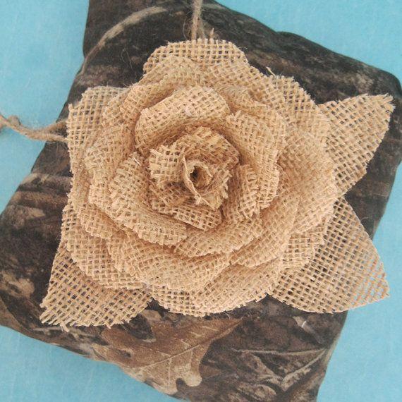 Hunting Camo Wedding Ring Pillow Burlap Bearer by HARTfeltart, $29.99