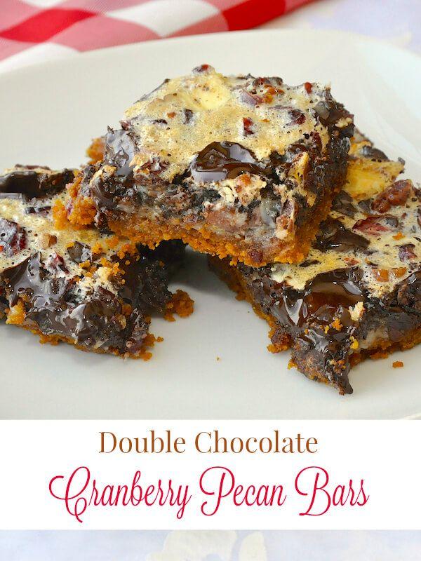 Double Chocolate Cranberry Pecan Bars | Recipe | Pecan Bars, Magic ...