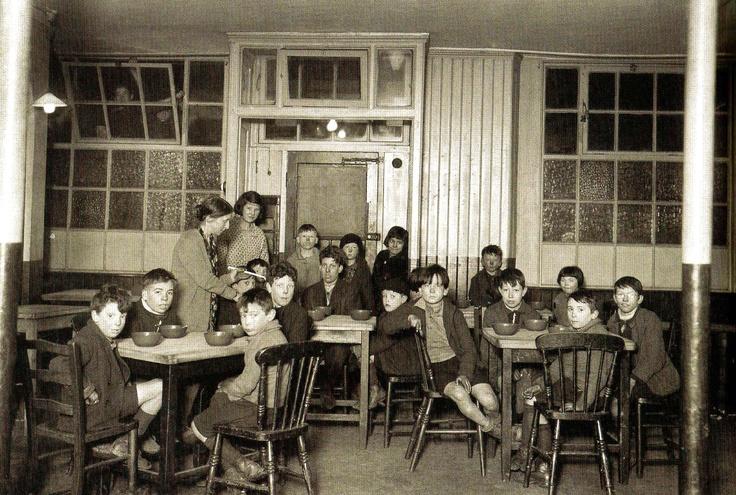 Canning Town, London, children having soup - 25 November 1931
