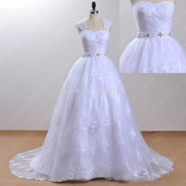 Принцесса бальное платье милая свадебные платья 2014 100% реальный образец кружева аппликации свадебное платье со съемными куртка атласный бант