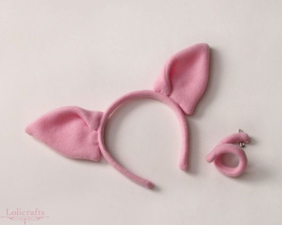 Pig Costume Set Ears and a Tail by lolicrafts on Etsy, $25.00