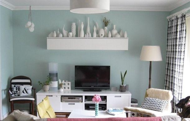shelf idea above tv, console for tv-ikea, wall color!