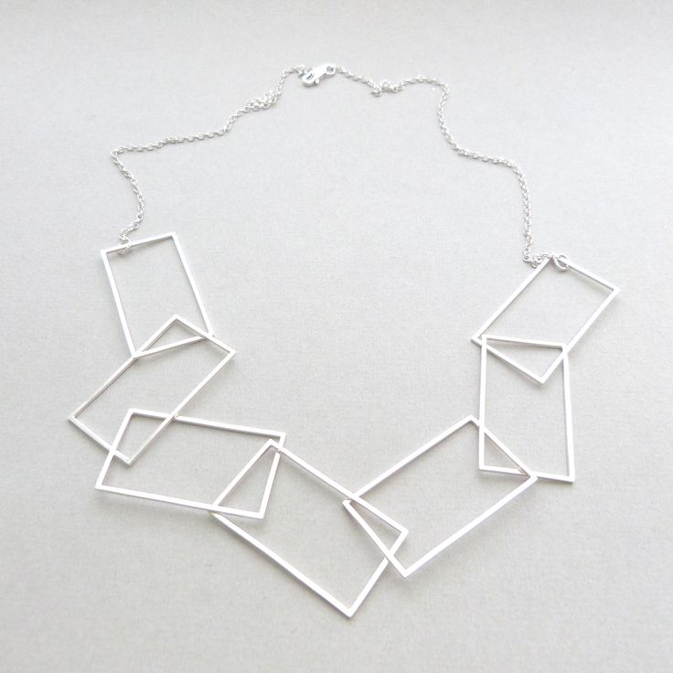 Multi rectangle necklace in silver // Minimal luxe handmade jewellery by Elin Horgan