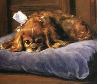 Bernard te Gempt, Dutch,   Cavalier Spaniel 1826-1879  oil on canvas