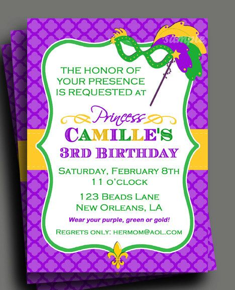 image relating to Free Printable Mardi Gras Invitations identified as Mardi Gras Princess Invitation Printable or Released with