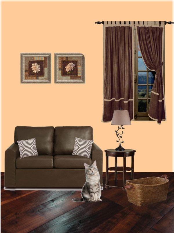 "Peach Living Room Ideas | Vintage Peach living room"" by ..."