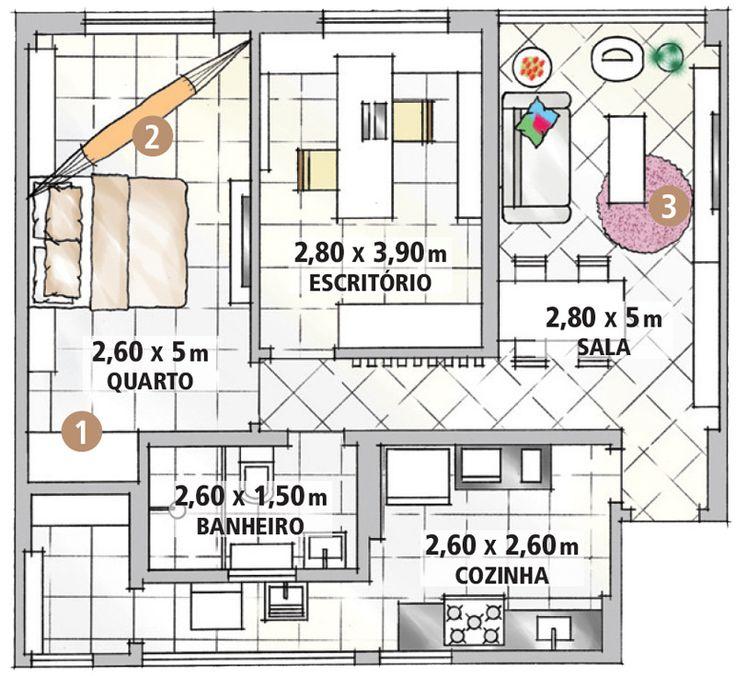 Neste apê de 60 m², o morador decidiu escapar da mesmice. Ele usou armário de cozinha em todo o apartamento, tijolinho falso na sala e patchwork de tecido na cozinha