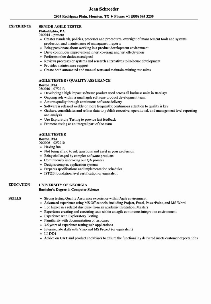 Agile project manager resume inspirational agile tester