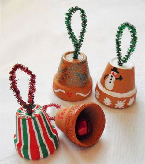 Christmas Bell Ornaments - inexpensive holiday activity for kids. Would be awesome at a winter festival, recreation center, fundraiser, child to parent gift in art class at school, or even for elderly residents in nursing homes. All of the pieces are easy to handle, construction is simple, they're fun to assemble and you can paint them however you like. :)
