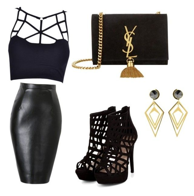 Black outfit by denisaonisie on Polyvore featuring polyvore fashion style Yves Saint Laurent Sarah Magid