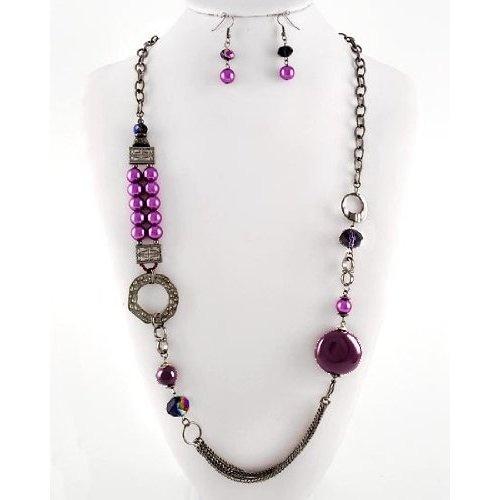 Amazon.com: Purple Pearl Necklace Set: Jewelry