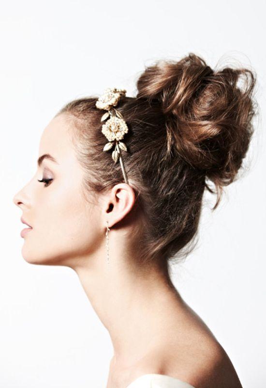 messy bun + floral headband