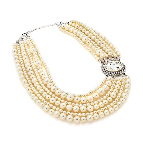 "Universal Vault Oval Station 6-Row Beaded 18"" Necklace - HSN Clearance"