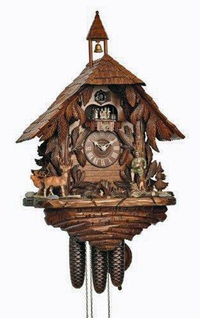 Cuckoo Kingdom - Black Forest House Cuckoo Clock, Hunting Scenery, Bell Tower.