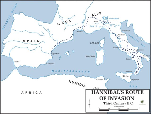 Hannibal´s route of invasion given by the Department of History, United States Military Academy. There is a mistake in the scale. Image Credit.