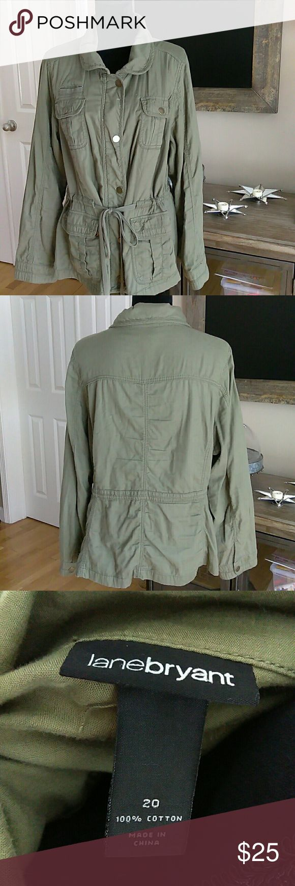 Lane Bryant Military Utility Jacket Lightweight jacket with dual zipper and snap closures. Tire waist for attractive sinching. Olive green, worn a handful of times. Adorable with Jean Capri's and a tank and scarf Lane Bryant Jackets & Coats Utility Jackets