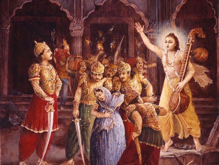 Narada saves Kayadhu: When Hiranyakashipu went to Mandarachala to execute severe austerities, his wife, Kayadhu, was pregnant. The demigods headed by Indra attacked the demons and arrested Kayadhu. Read more..