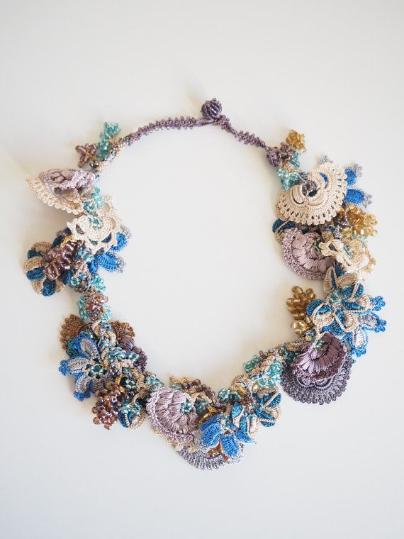 Turkish Oya, Beaded hand made lace necklace. Crocheted Turkish oya necklace 210514-121