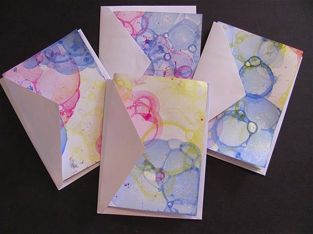 Printmaking with tempera, dish soap, cups, and straws...easy to do and inexpensive!