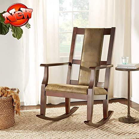 Ninowokc Newly Upgrade & Stronger Wooden Rocking Chair, Heavy Duty Armchair, Luxurious Style Lounge Rocker with Thicken Padded Back & Seat for Living Room, Bedroom, Adults, Elderly, Indoor Wooden Rocker, Wooden Rocking Chairs, Living Room Bedroom, Living Room Chairs, Style Lounge, Single Sofa, Ergonomic Chair, Retro Design, Indoor