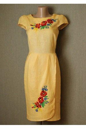 Сукня «Полісся» жовтого кольору – з вишивкою, льон, купити в Києві