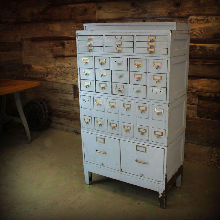 Amazing! - Vintage Industrial Large Tiger Oak Steel Filing Cabinet - beautiful Jewelry box!