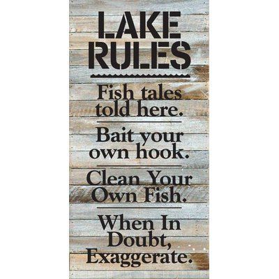 Artistic Reflections 'Lake Rules. Fish Tales Told Here…' Textual Art on Wood in White