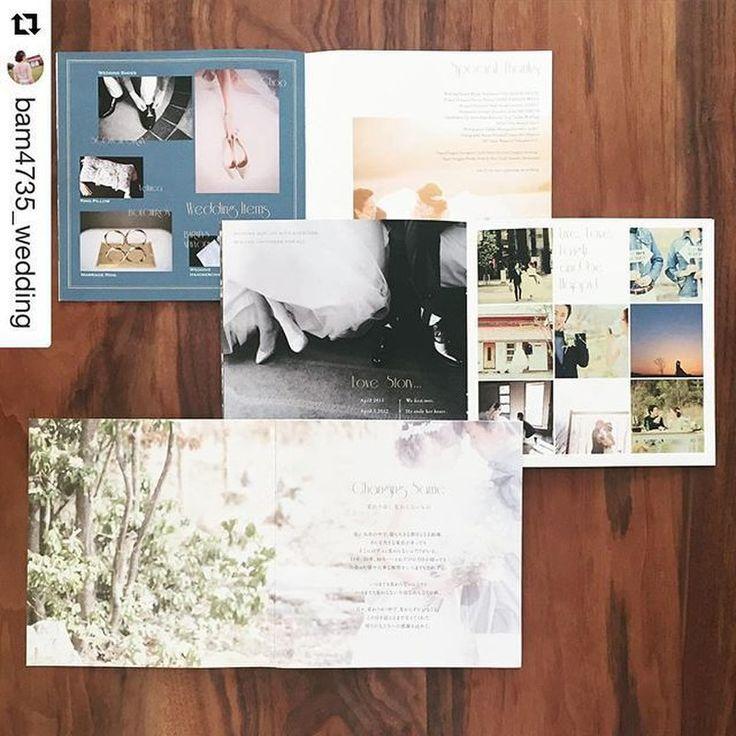 こちらも@bam4735_weddingさまに作っていただいたプロフィールブックです。 表紙 P.2-3 コンセプト P.4 ご挨拶 P.5 プロフィール P.6 Love Story P.7 前撮り写真 P.8-9 オススメ店紹介 P.10 小物紹介 P.11 Special Thanks 裏表紙 という構成になっています。