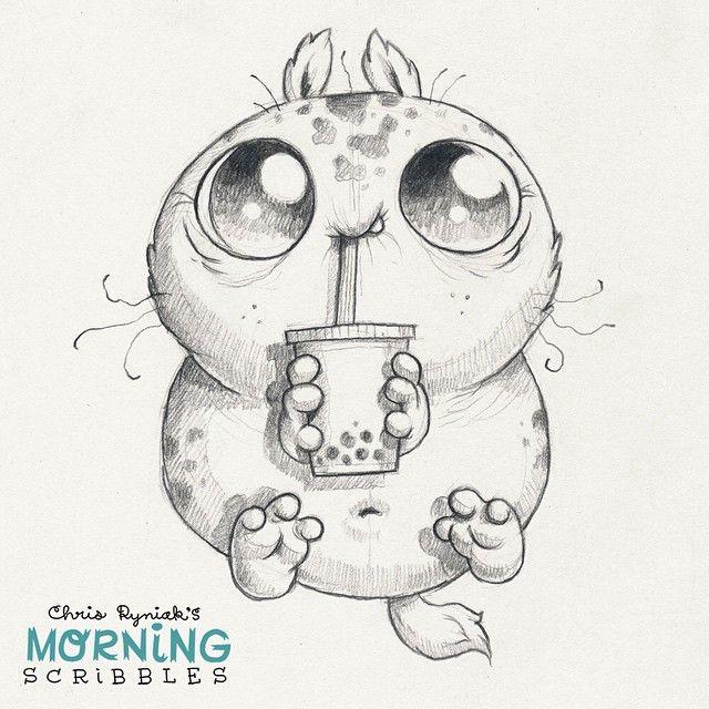 Cute monster artist Chris Ryniak Bubble tea! #⚫️⚫️⚫️#morningscribbles. Follow Chris Ryniak on facebook and Instagram. ;) http://chrisryniak.com/ https://www.facebook.com/pages/Chris-Ryniak/68169468627