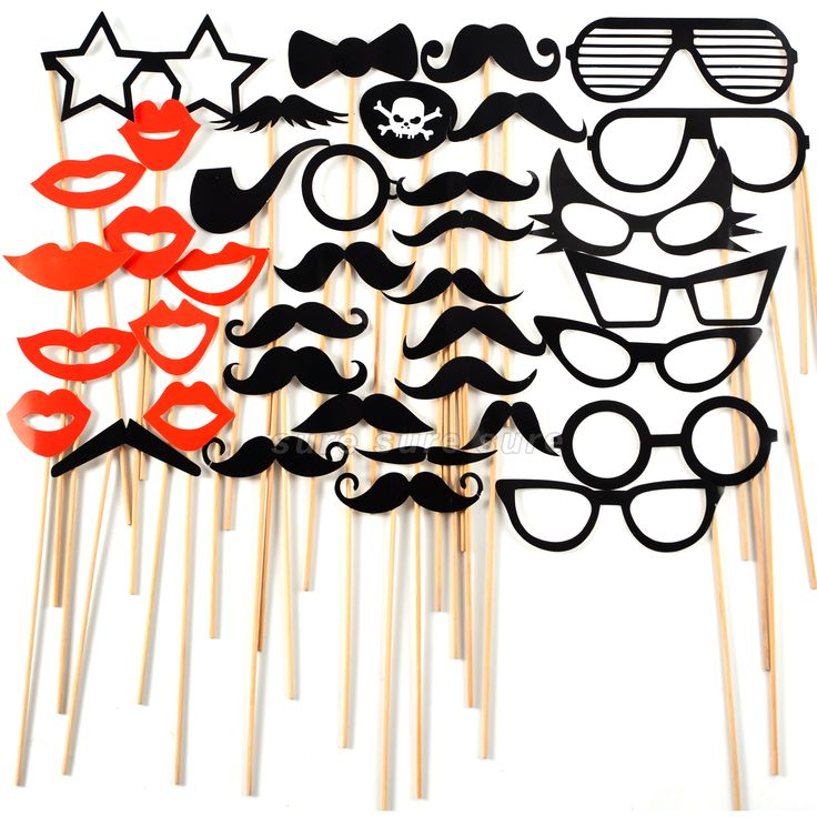 38x Photo foto Booth Props Schnurrbart Lippen Briller Verkleidung Party
