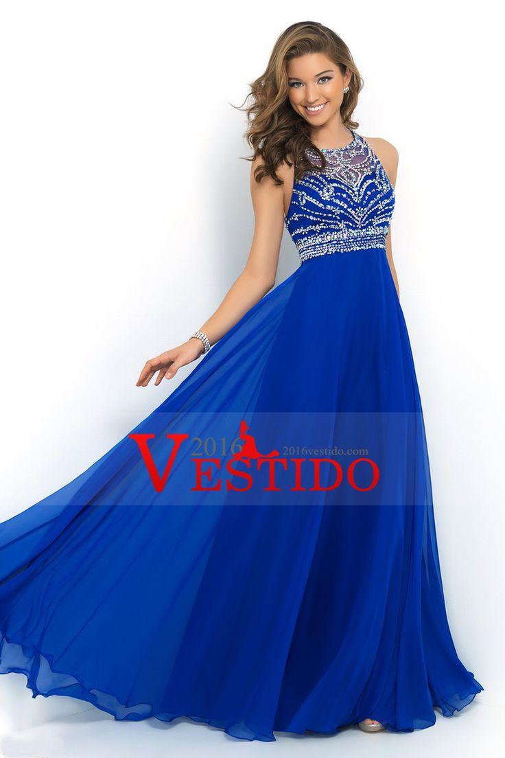 2016 Halter Corte A / Princesa Vestidos de baile de tul y gasa del tren del barrido