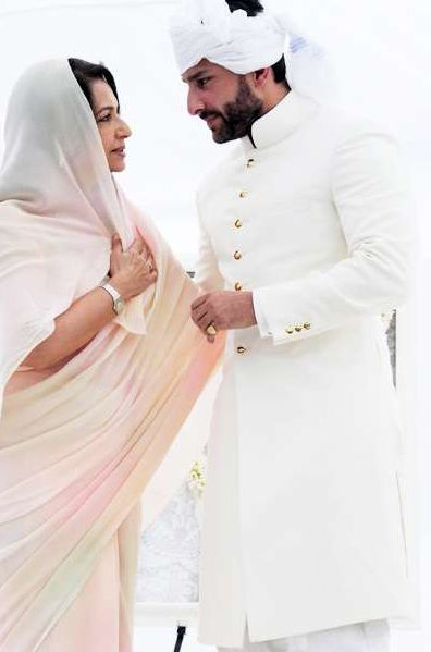 Sherwani | Saif Ali Khan In White Sherwani Turban | The New Nawab of Pataudi ...