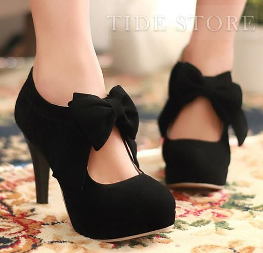 LOVE Sweet Knot Bows Platform High Heel Pumps AHdorable